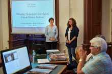 ELTE librarian Borbala Franyo, left, and Andrea Szonyi, USC Shoah Foundation Hungarian regional consultant