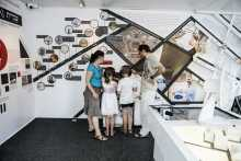 """Visitors watch testimony in the POLIN """"Museum on Wheels"""""""