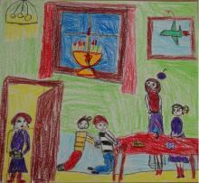 Students drew pictures about Hanukkah, inspired by testimony